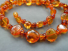 Vintage Natural Honey Cognac Baltic Amber Oval Bead Necklace w/ Inclusions 21g