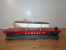 LIONEL O GAUGE # 6801 RED FLAT CAR WITH BROWN AND WHITE BOAT
