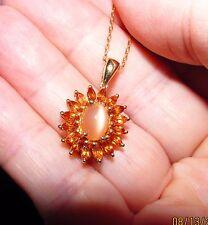 "Sale! Citrine Moonstone Pendant Necklace Y Gold Vermeil 925 Sterling Silver 17"""