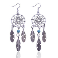 Dream Catcher Dangle Earrings Sterling Silver Plated Womens Drop Feather Bohemia
