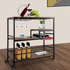 Vevor Wine Bar Cart Mobile With Rack Glass Holder Lockable Wheels 3 Tier Kitchen