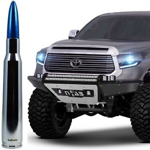 Chrome with Blue Tip Bullet Antenna for Toyota Tundra and Tacoma All Years