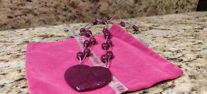 Lola Rose Heart Necklace - Wine/Black Cherry Coloured Semi Precious Stone