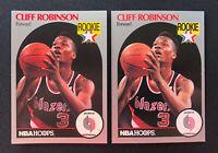 1990-91 NBA HOOPS #250 CLIFF ROBINSON ROOKIE CARD PORTLAND TRAILBLAZERS LOT OF 2
