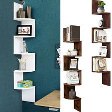 5 Tier Corner Shelf Bookshelf Floating Wall Shelves Storage with Zigzag Design