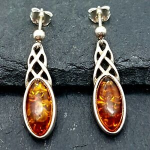 Preloved Sterling Silver & Baltic Amber Earrings - Celtic Style Dropper Studs -