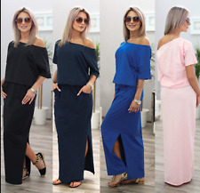 UK Womens One Shoulder Summer Split Long Maxi Ladies Party Beach Casual Dress