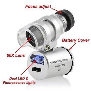 60x Pocket Microscope – Magnifying Glass Jeweller Loupe Magnifier - LED UV Light