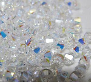 50 Genuine 4mm Swarovski Crystal AB 5328 Xilion Beads