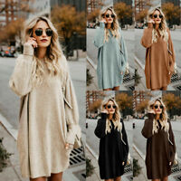 Women Long Sleeve Sweater Loose Knitted Jumpers Pullover Long Tops Mini Dress AB