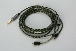 Green Audio Cable with mic For MEE audio PINNACLE P1 P2 PX M7 Pro EARPHONES