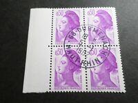 FRANCE BLOC timbres 2184 LIBERTE' DELACROIX, oblitéré 1982 cachet rond, QUARTINA