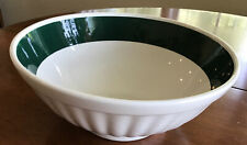 """Vintage Roma Inc Made In Italy White Serving Bowl With Forest Green Band 10.5"""""""