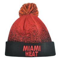 NBA Mitchell Ness Title Knit KM12 Cuffed Pom Pom Beanie Miami Heat HWC Skully