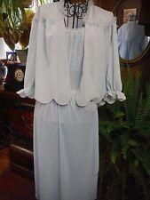 Vintage Vanity Fair Blue Women's Empire Waist Lace,Nylon Night gown & Cover