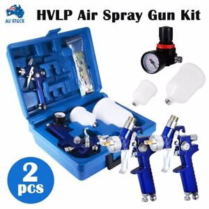 HVLP Air Spray Gun Kit 1.4mm 0.8mm Nozzle Set Paint Touch Up Gravity Feed