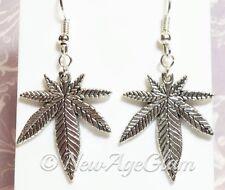 *MARIJUANA*_Charm Earrings Antiqued Silver_Pot Weed Cannabis Leaves Leaf_E42
