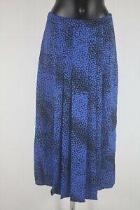 WG753 Mint Velvet Blue and Black Midi Skirt Size 10
