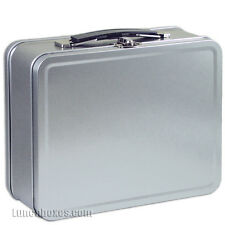 Plain Metal Snack Box - Silver Small Lunchbox, Lunch Box