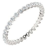 Genuine 1/2 ctw G-H SI2-SI3 Diamonds Eternity Ring 14K. White Gold Sizes 5, 6, 7