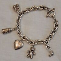 Vintage Newborn Baby Sterling Silver Charm Bracelet with Five (5) Charms