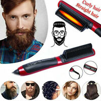 Electric Quick Heated Beard Straightener Brush Hair Comb Curling Curler Show Cap