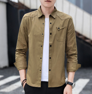 Mens Lapel Collar Long Sleeve Cotton Shirts Buttons Front Military Workwear Tops