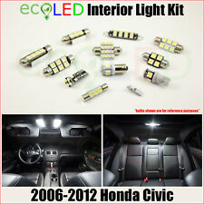 Fits 2006-2012 Honda Civic WHITE LED Interior Light Accessories Package Kit 6 PC