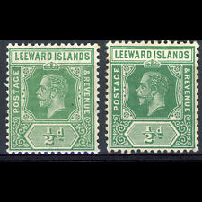 LEEWARD ISLANDS 1/2d Yellow & Deep Green. SG 47 & 47a. MCA Wmk. MLH. (BH546)
