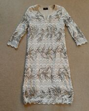 Eugene Klein Size 16 Lace Lined stretch Dress Cream And Gold & Brown Colour
