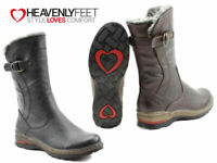 Ladies Heavenly Feet Boots Casual Mid Calf Faux Fur Winter Warm Memory Foam Zip