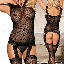 One Size 8 - 12 Sexy Mesh Fishnet Leopard Pattern Garter Suspender Bodystocking