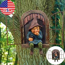 Elf Out The Door Tree Hugger Yard Art Outdoor Resin Gnome Statue Garden Decor