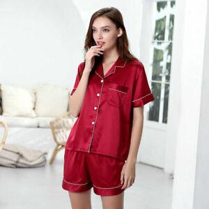 Woman's Satin Pyjamas Set Silky Summer Lounge Wear Ladies Pajamas Short Sleeve