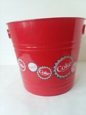 """Coca Cola Plastic Pail Bucket Ice Bucket with Cut Out Handles 10"""" D 9"""" Tall"""