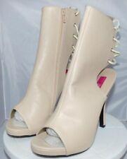 Pleaser Pink Label Plataforma Puntera Abierta y espalda botín Crema Imitación De Cuero