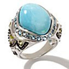 Heritage Gems White Cloud Turquoise and Gemstone Sterling Silver Ring Size 7