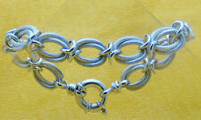 """PLEASING DOUBLE OVAL STERLING SILVER LINK BRACELET W/ LARGE C-RING CLASP, 7.5"""""""