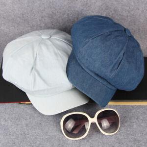 Vintage Women Hat Girls Blue Denim Style Baker Boy Newsboy Hats Octagonal Cap