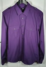 H&M Men's Purple Long Sleeve Shirt - Size Medium