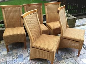 5 Wicker Rattan Dining Chairs