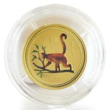 Australia 5 dollars Lunar calendar Year of Monkey colored gold coin 1/20 oz 2004