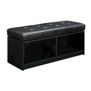 Convenience Concepts Designs4Comfort Broadmoor Storage Ottoman, Black - 143080BL