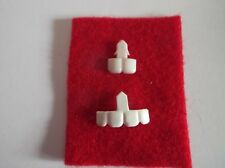 2 x DOLLS PLASTIC TEETH & RED FELT FOR TONGUE Code TBL2A
