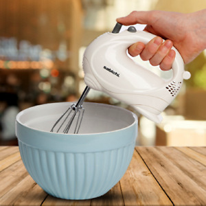 White 5 Speed Electric Hand Mixer Food Whisk Mixture Blender