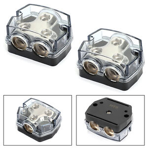 2x Distribution Block 1x0 In 2x0 GA Out Splitter Fusebox for Car Audio Marine A8
