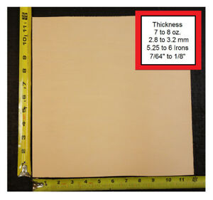 """12"""" x 12"""" Vegetable Tanned Cowhide 7 to 8 oz. Tooling Leather Piece, 1st. QLTY"""