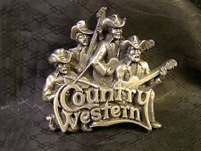 Country Western Band 3D Deep Relief Bergamot Brass Works 1981 T-96 Belt Buckle
