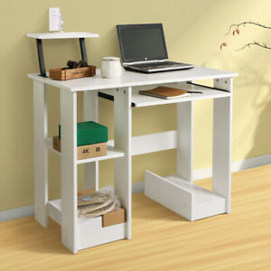 White Strong Computer Desk Corner PC Laptop Table Writing Home Workstation