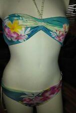 landslide teal  floral bikini swimsuit women's L